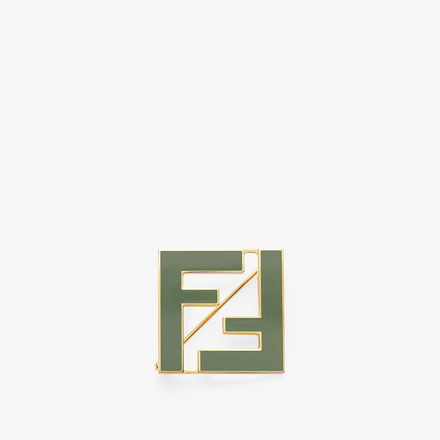 FENDI FF BROOCH - Green metal brooch - view 1 detail