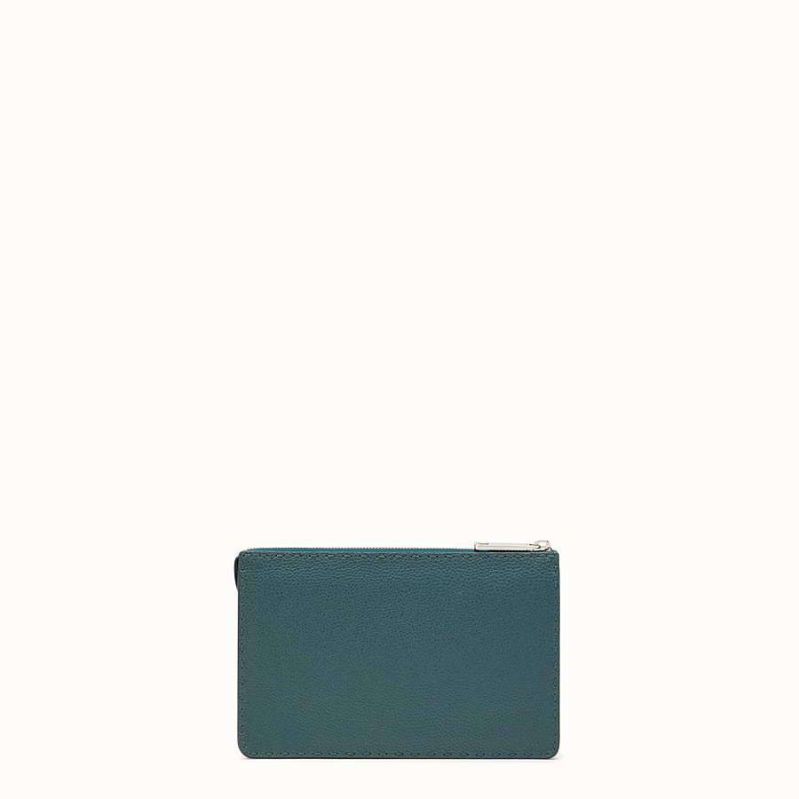 FENDI CLUTCH - Green leather Selleria pouch - view 3 detail
