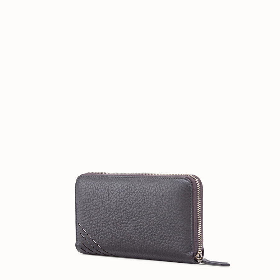 FENDI ZIP-AROUND - Grey calf leather wallet - view 2 detail