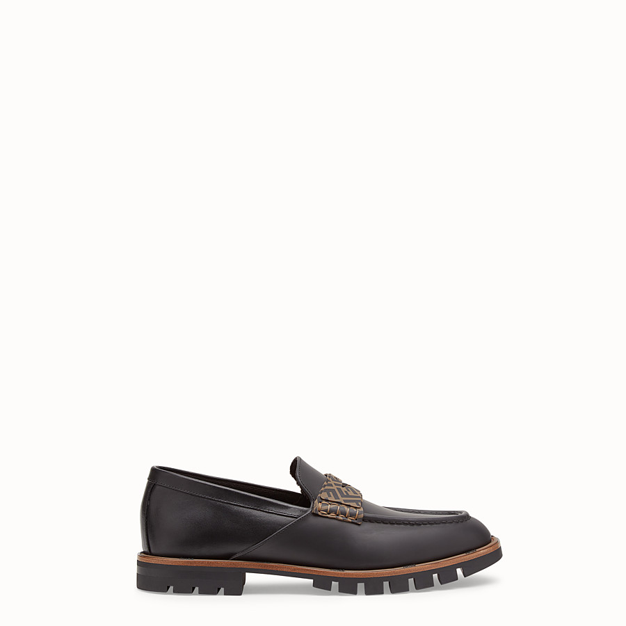 FENDI LOAFERS - Black leather and TPU loafers - view 1 detail