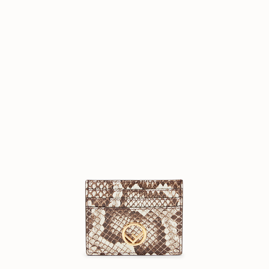 FENDI CARD HOLDER - Beige leather flat card holder with exotic details - view 1 detail