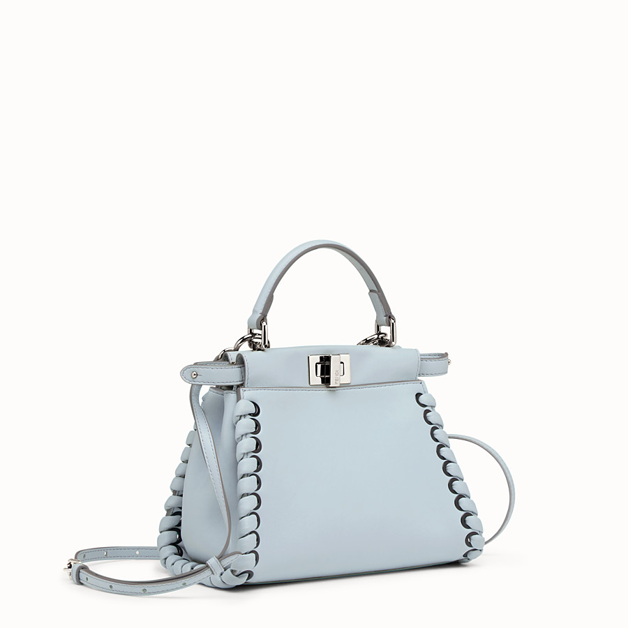 FENDI PEEKABOO MINI - Light blue nappa handbag with weaving - view 2 detail