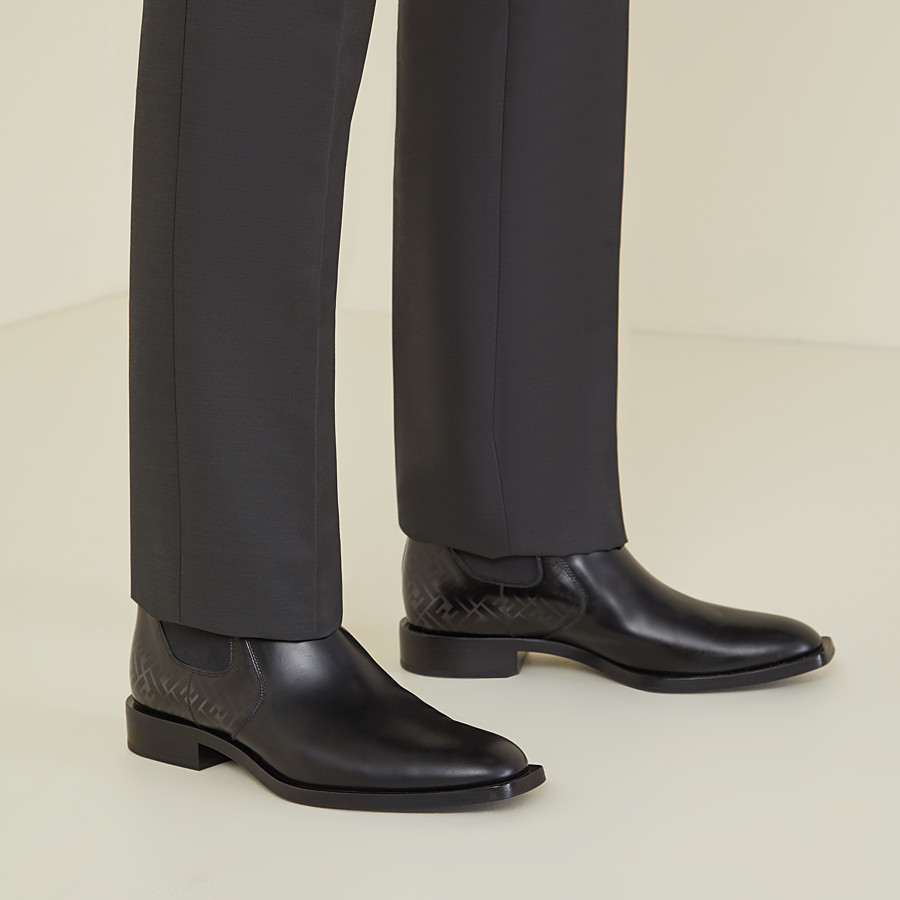 FENDI CHELSEA - Black leather ankle boots - view 5 detail