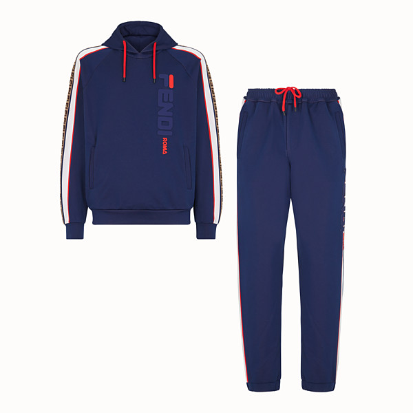 FENDI JUMPSUIT - Blue cotton jersey sweatshirt and pants - view 1 small thumbnail