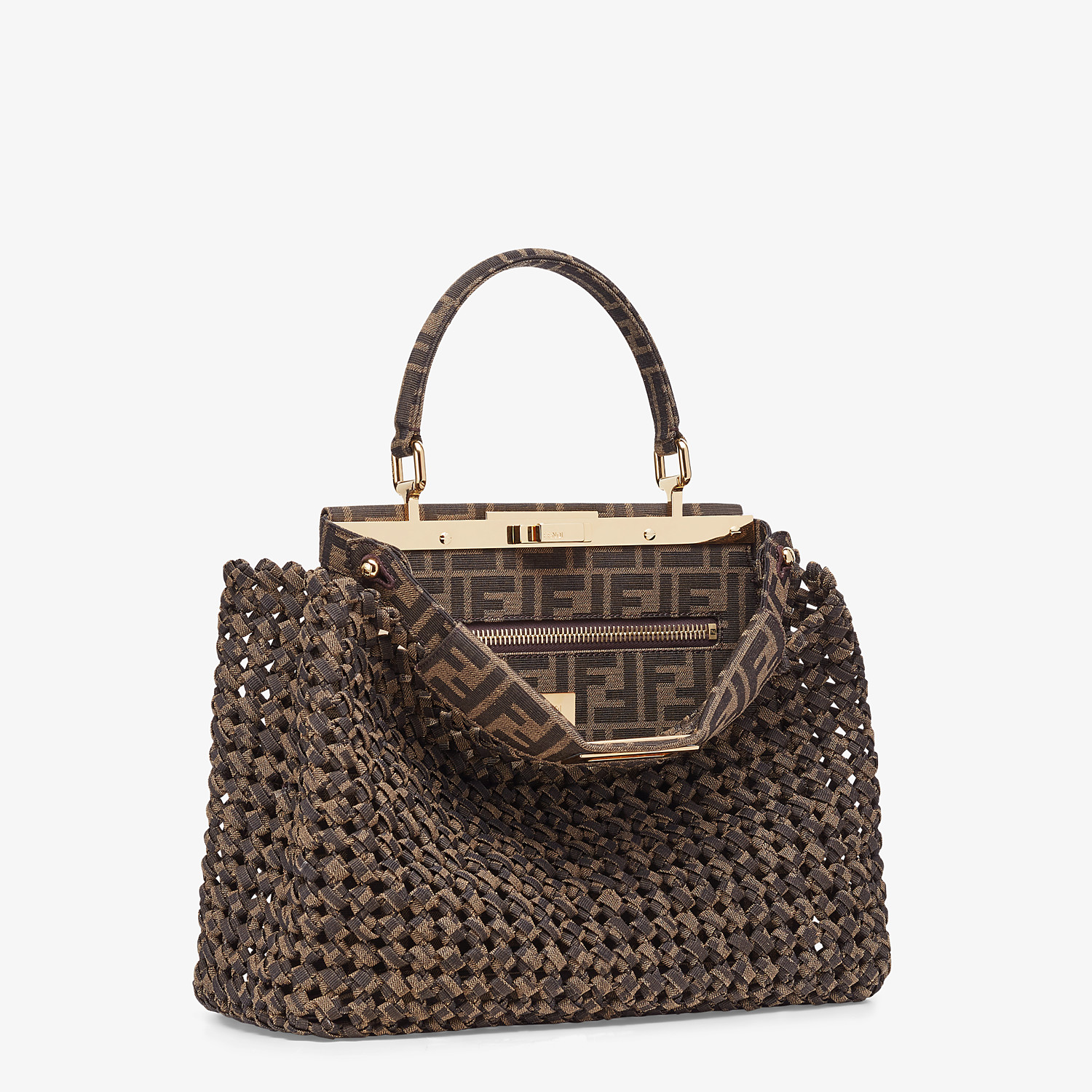 FENDI PEEKABOO ICONIC MEDIUM - Jacquard fabric interlace bag - view 3 detail