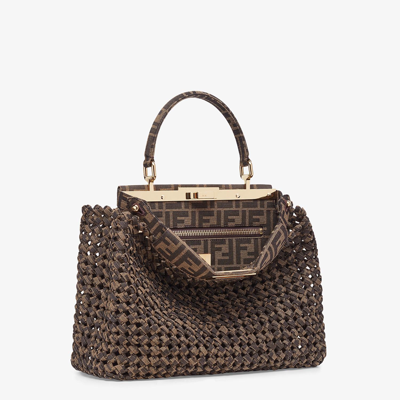 FENDI PEEKABOO ICONIC MEDIUM - Jacquard fabric interlace bag - view 3 detail