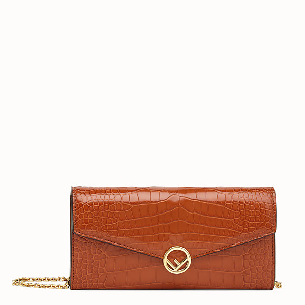 FENDI CONTINENTAL WITH CHAIN - Brown alligator wallet - view 1 small thumbnail
