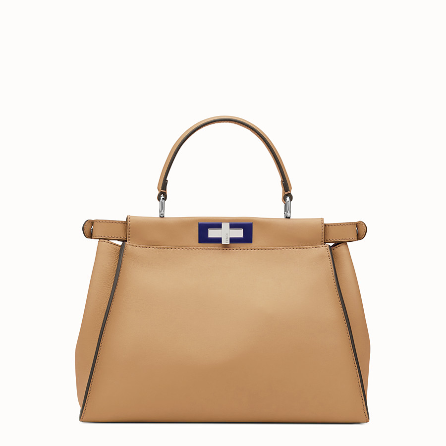 FENDI PEEKABOO REGULAR - Sand-colour leather handbag - view 3 detail
