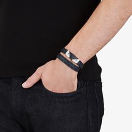 FENDI DOUBLE TOUR BRACELET - Black and blue leather bracelet - view 4 thumbnail
