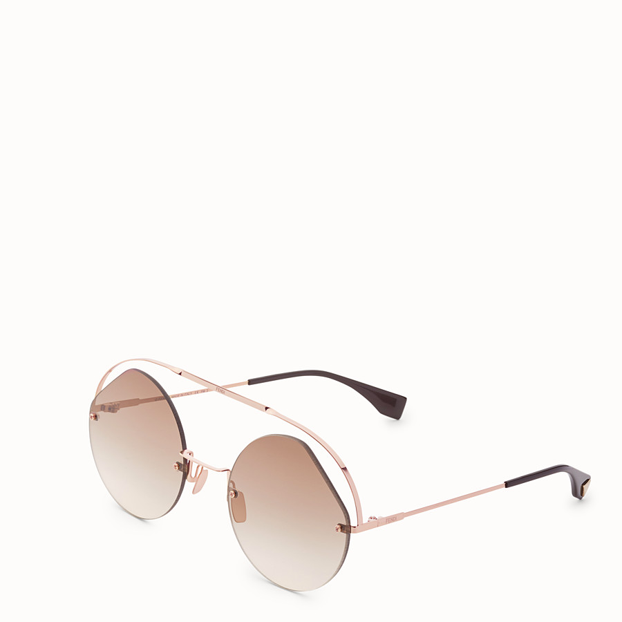 FENDI RIBBONS & CRYSTALS - Rose gold-coloured sunglasses - view 2 detail