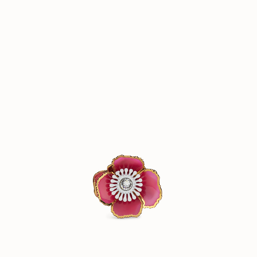 FENDI FLOWERS RING - Fuchsia enameled ring - view 2 detail
