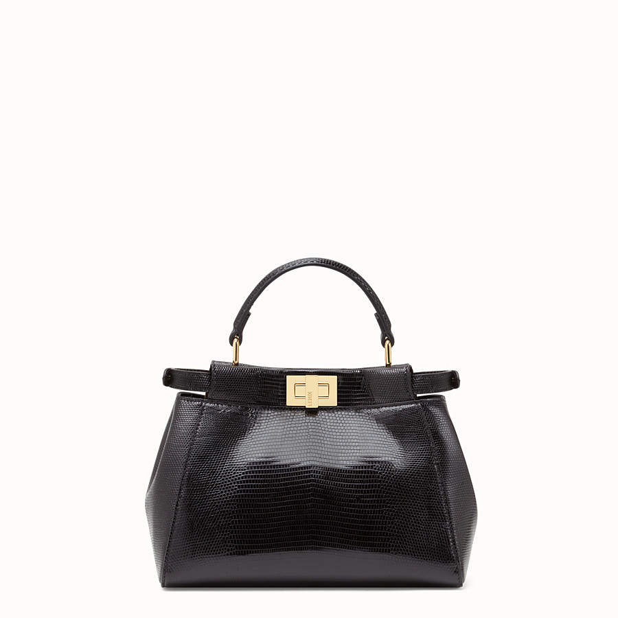 FENDI PEEKABOO MINI - Black lizard bag - view 4 detail