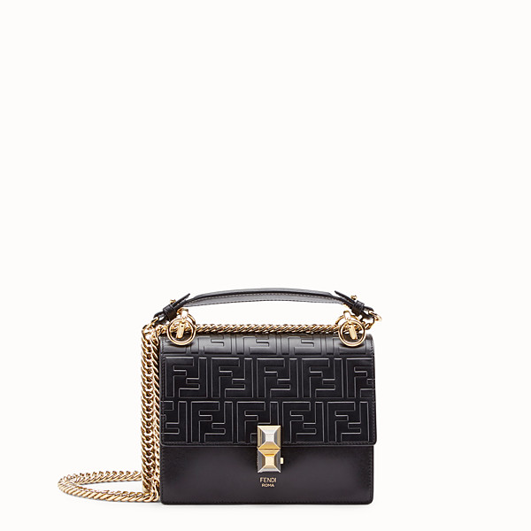 FENDI KAN I SMALL - Black leather mini-bag - view 1 small thumbnail