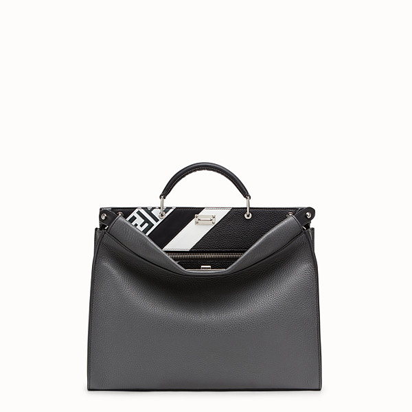 FENDI PEEKABOO ICONIC FIT - Grey leather bag - view 1 small thumbnail