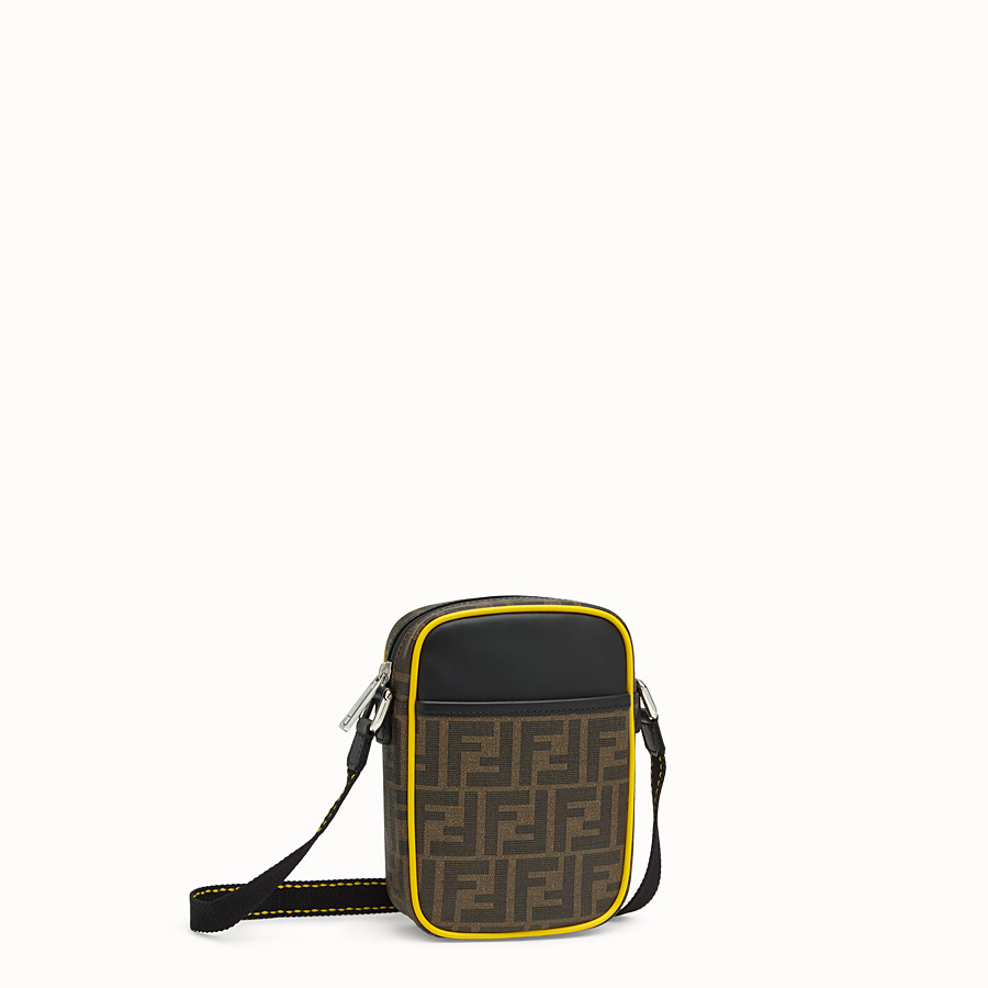 FENDI SMALL MESSENGER - PU and black leather cross-body bag - view 2 detail