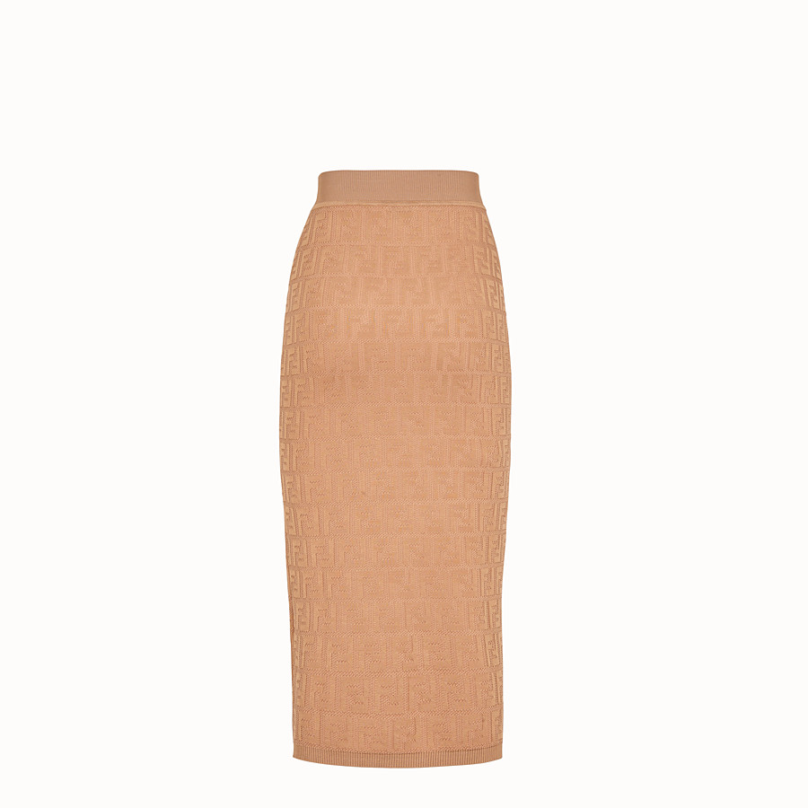 FENDI SKIRT - Beige cotton and viscose dress - view 2 detail