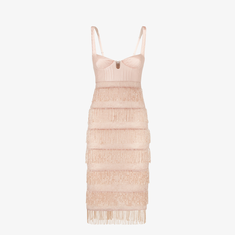 FENDI DRESS - Pink silk and lace dress - view 1 detail