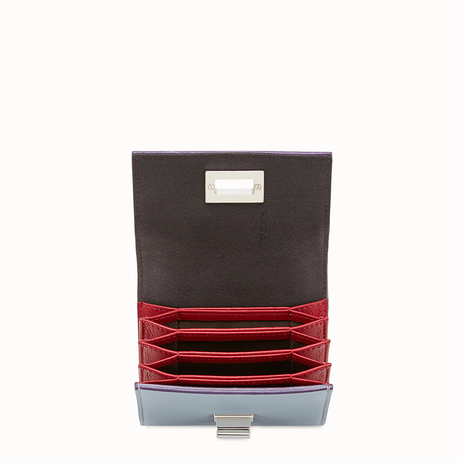 FENDI PEEKABOO CARD HOLDER - in grey and red leather - view 4 detail