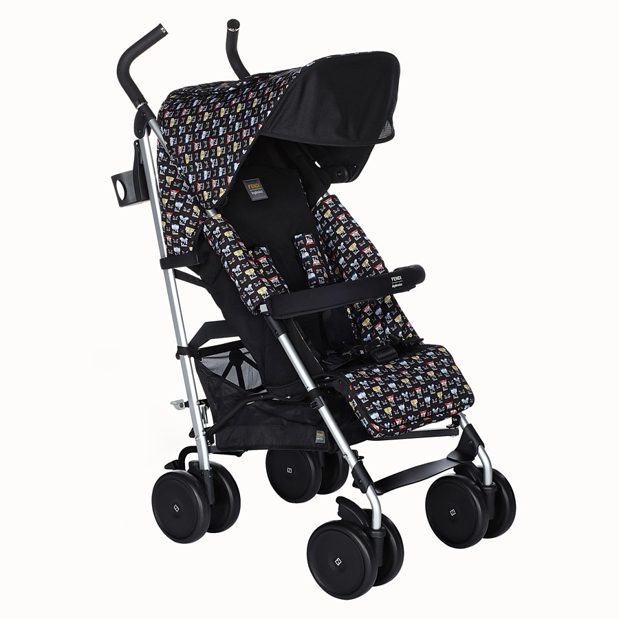 FENDI STROLLER - Blue stroller in fire-resistant material with monster pattern - view 2 detail