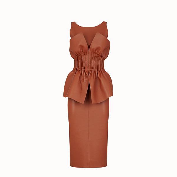 FENDI DRESS - Brown nappa leather dress - view 1 small thumbnail