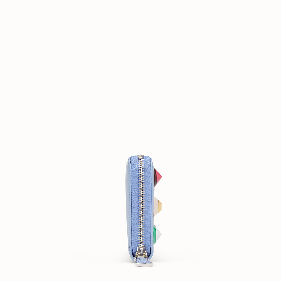 FENDI ZIP-AROUND - Light blue leather wallet - view 3 detail