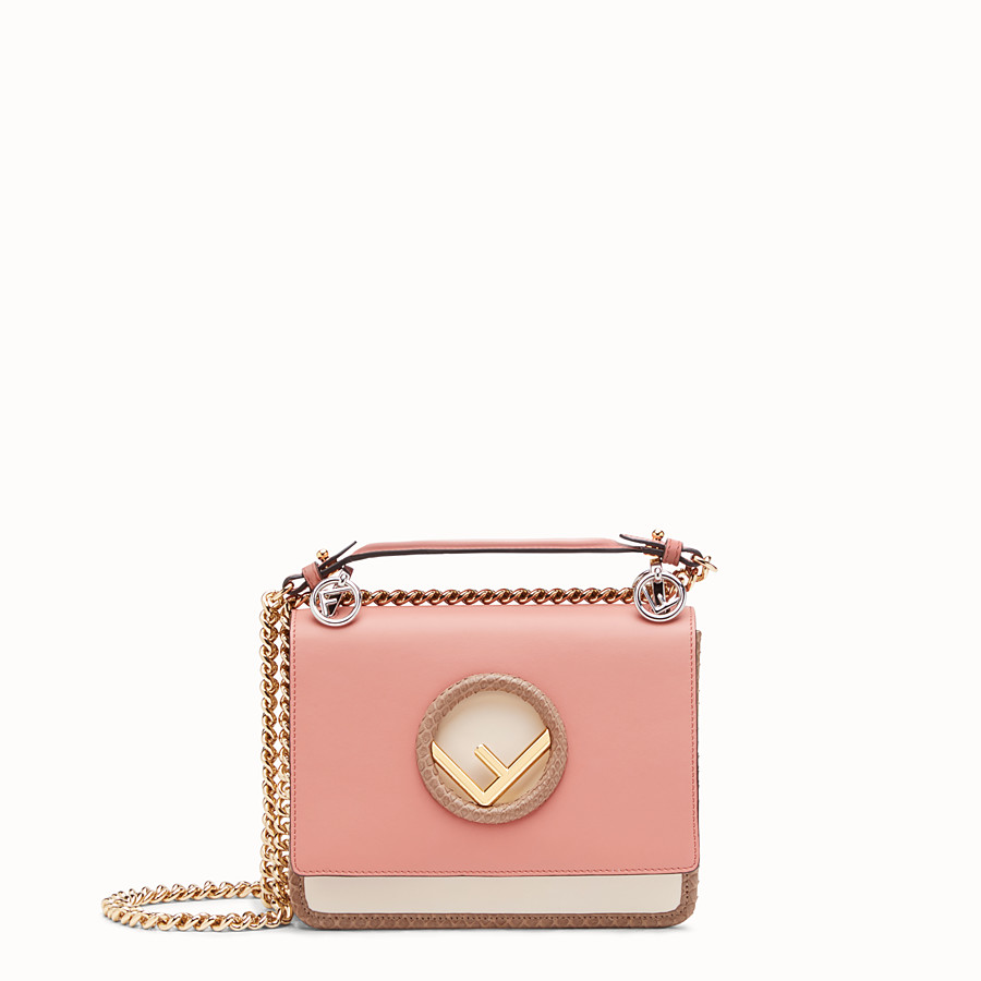 FENDI KAN I LOGO SMALL - Pink leather mini-bag - view 1 detail