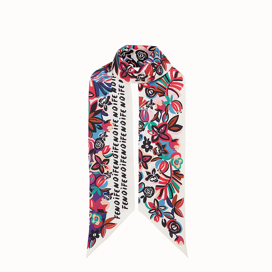 FENDI FLOWERS MAXI WRAPPY - Multicolour silk bandeau - view 1 detail