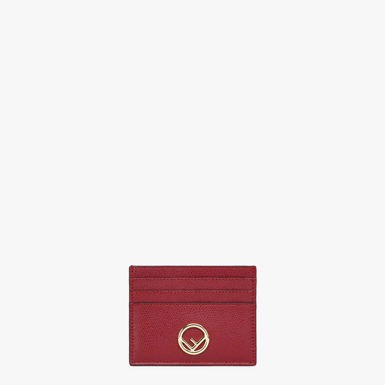 FENDI CARD CASE - Burgundy leather flat card holder - view 1 detail