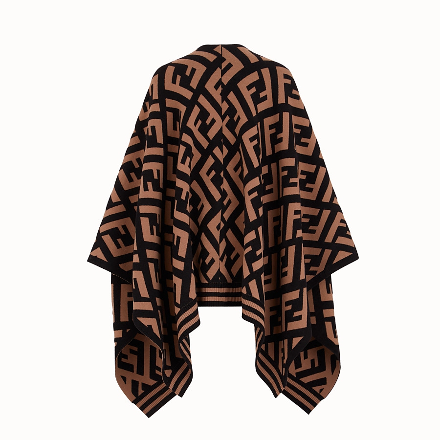 FENDI FF PONCHO - Brown knit poncho - view 2 detail
