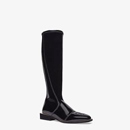 FENDI BOOTS - Glossy black neoprene boots - view 2 thumbnail