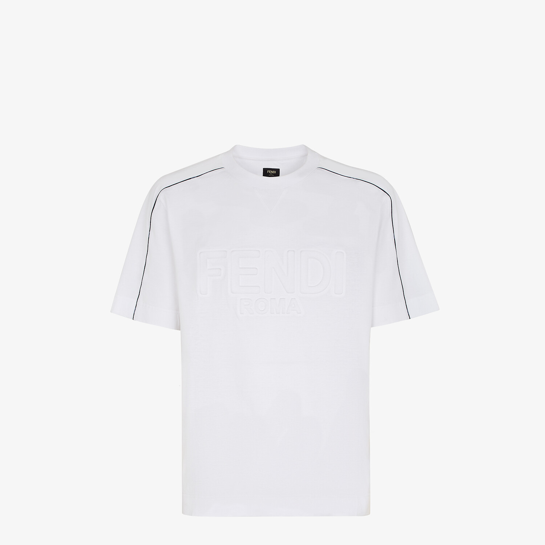 FENDI T-SHIRT - White cotton T-shirt - view 1 detail