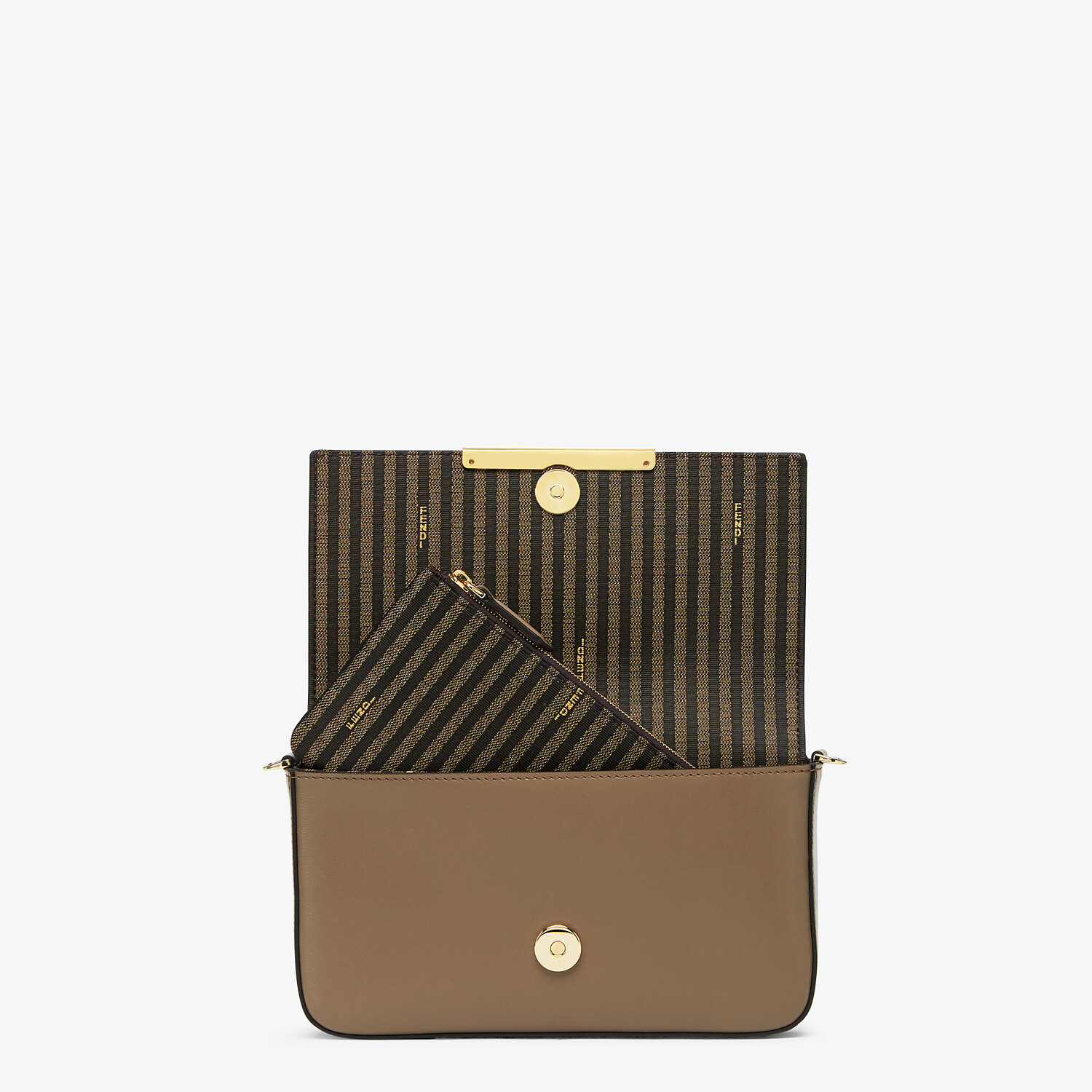 FENDI WALLET ON CHAIN WITH POUCHES - Grey leather mini-bag - view 6 detail