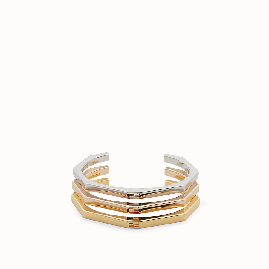 FENDI BAGUETTE BRACELETS - Three bracelets with a gold and palladium finish - view 1 detail