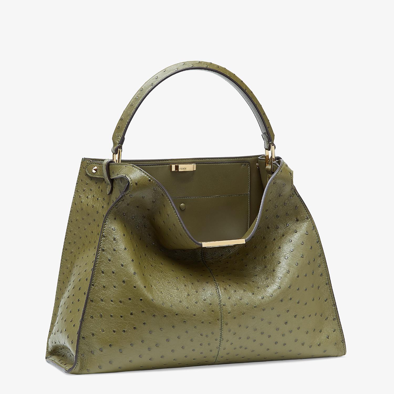 FENDI PEEKABOO X-LITE LARGE - Green ostrich leather bag - view 3 detail