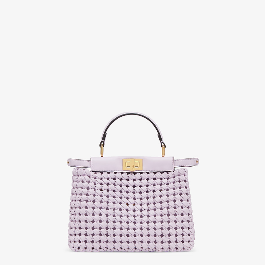 FENDI PEEKABOO ICONIC MINI - Lilac leather interlace bag - view 1 detail