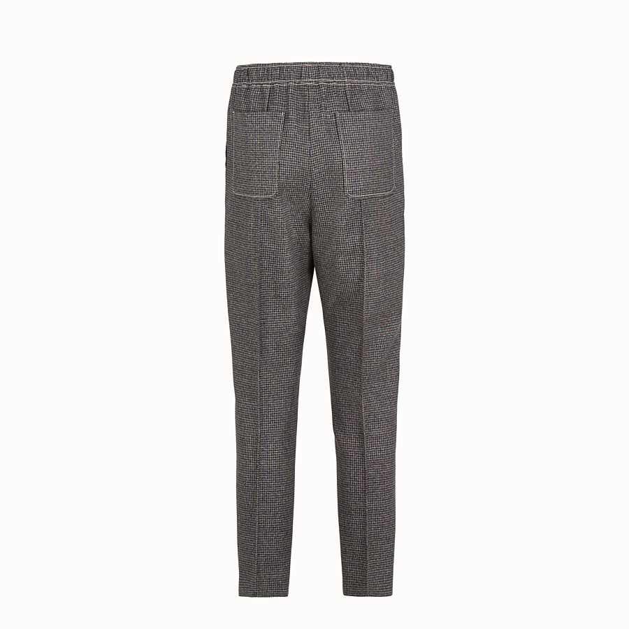 FENDI TROUSERS - Micro-check wool jogging trousers - view 2 detail