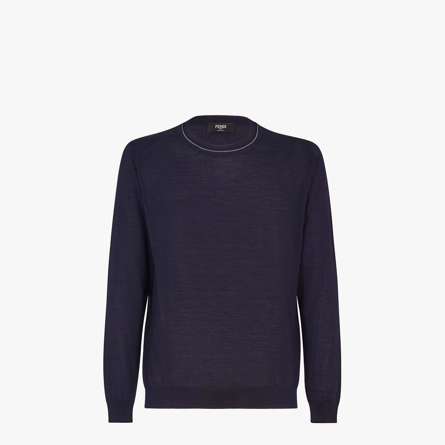 FENDI PULLOVER - Blue cashmere, wool and silk jumper - view 1 detail