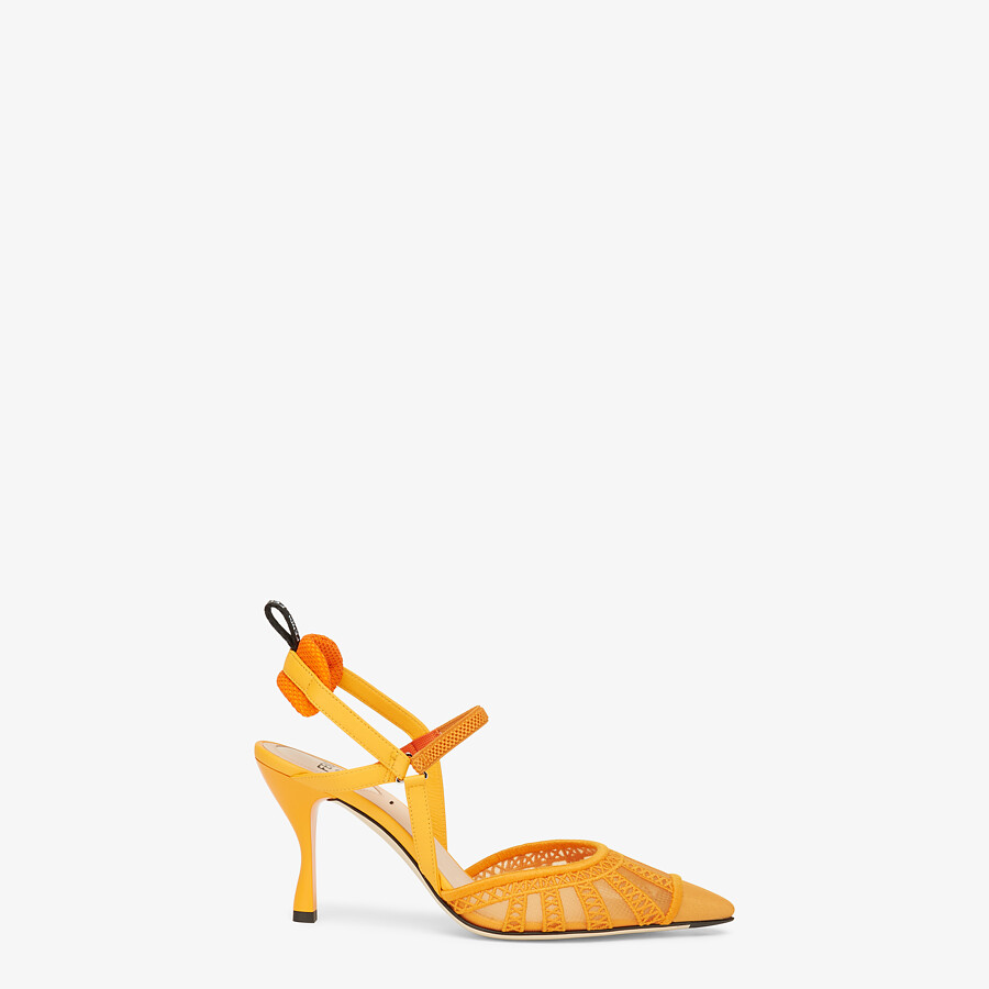 FENDI COLIBRI LITE SLINGBACKS - Orange micro-mesh slingbacks - view 1 detail