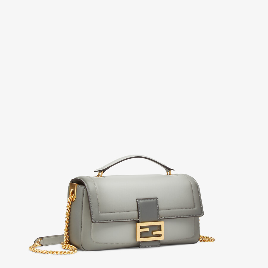 FENDI BAGUETTE CHAIN - gray nappa leather bag - view 2 detail