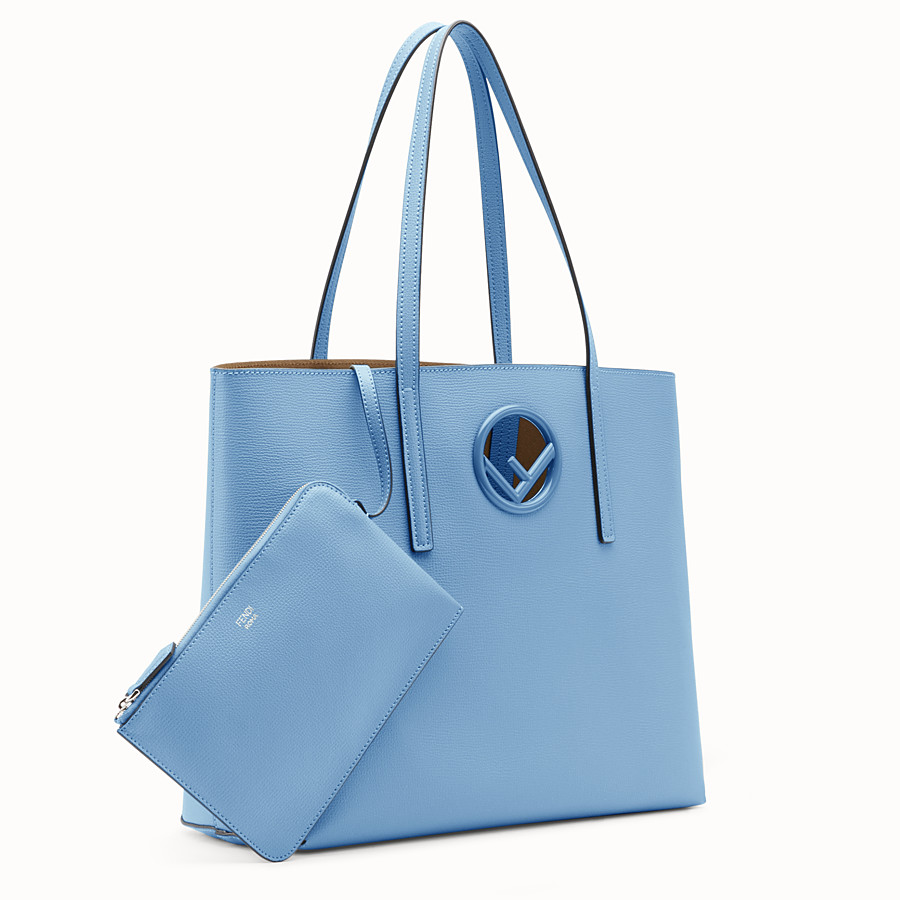 FENDI SHOPPING LOGO - Light blue leather shopper bag - view 2 detail