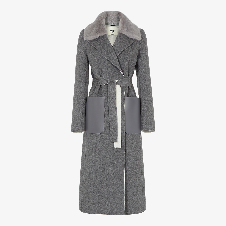 FENDI COAT - Grey double-sided cashmere coat - view 1 detail