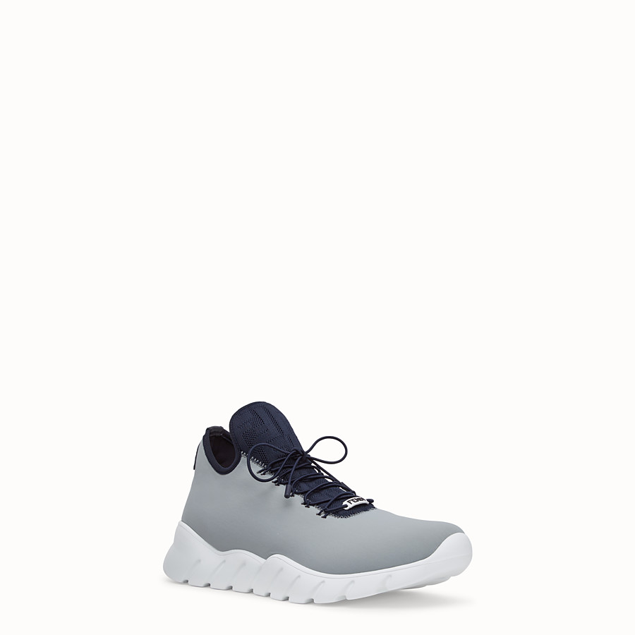FENDI SNEAKERS - Light blue fabric high tops - view 2 detail
