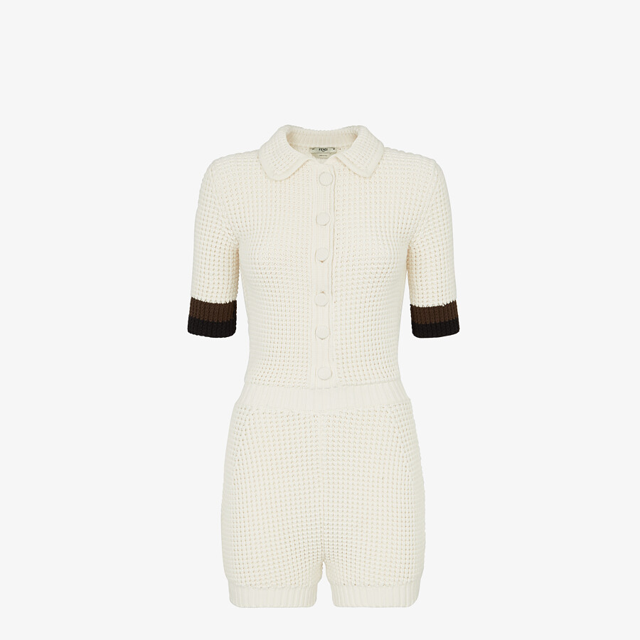 FENDI JUMPSUIT - White cotton jumpsuit - view 1 detail
