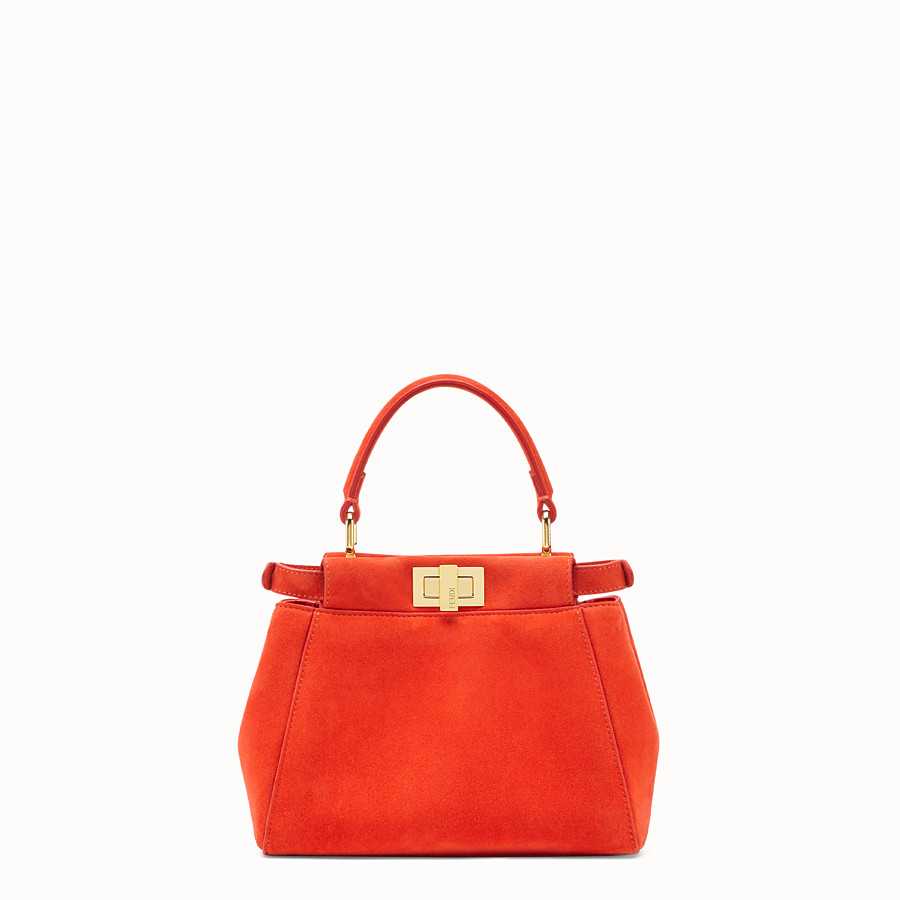 FENDI PEEKABOO ICONIC XS - Red suede minibag - view 4 detail