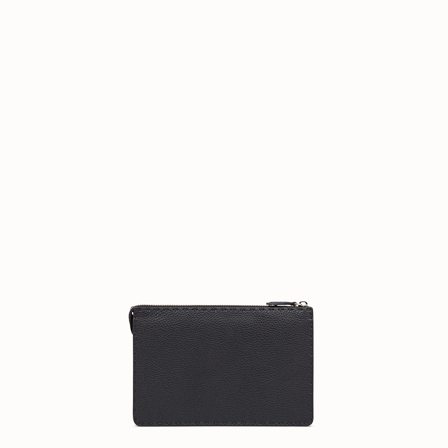 FENDI CLUTCH - Black Roman leather pochette with exotic leather details - view 3 detail