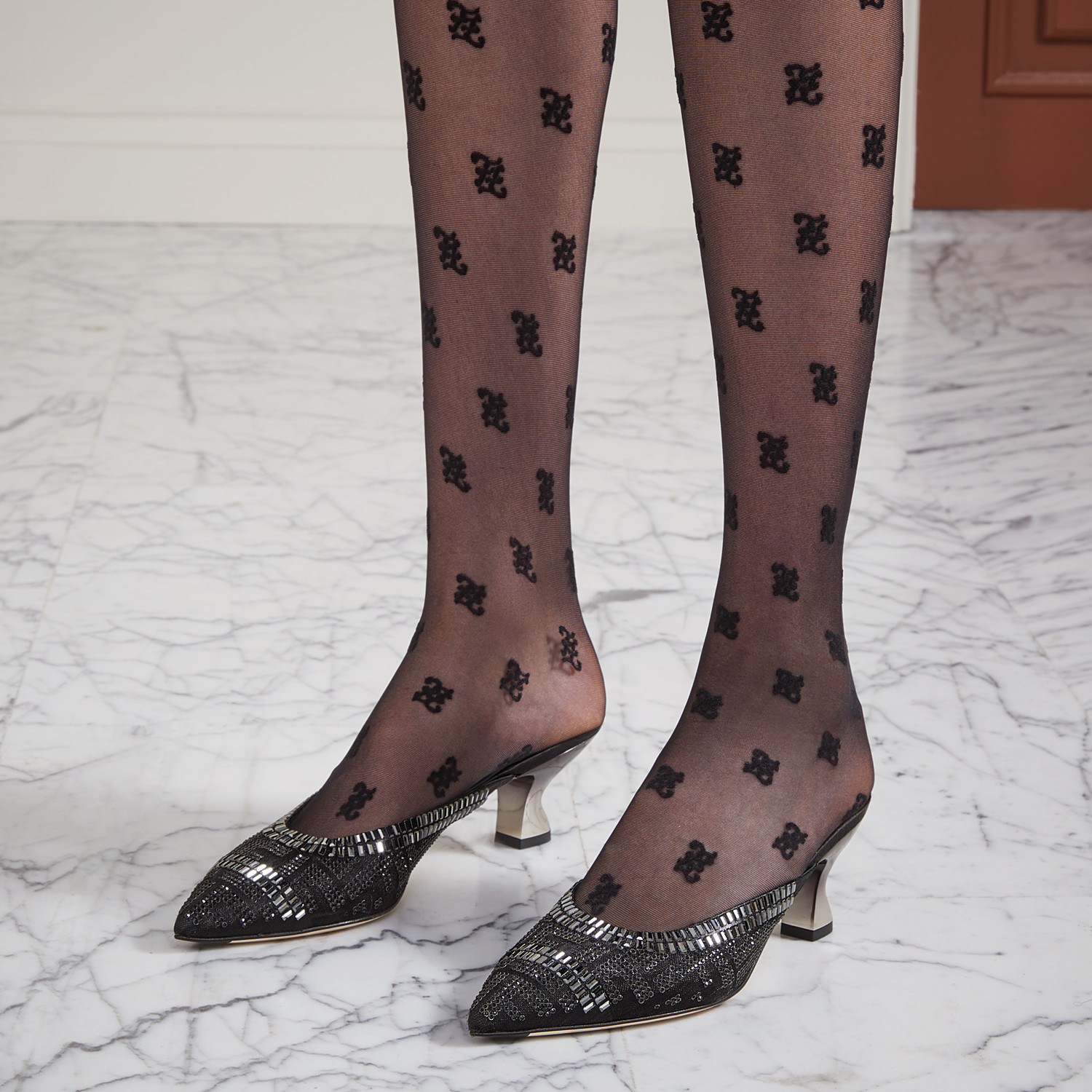 FENDI SLINGBACK - Colibrì in mesh and black leather - view 5 detail
