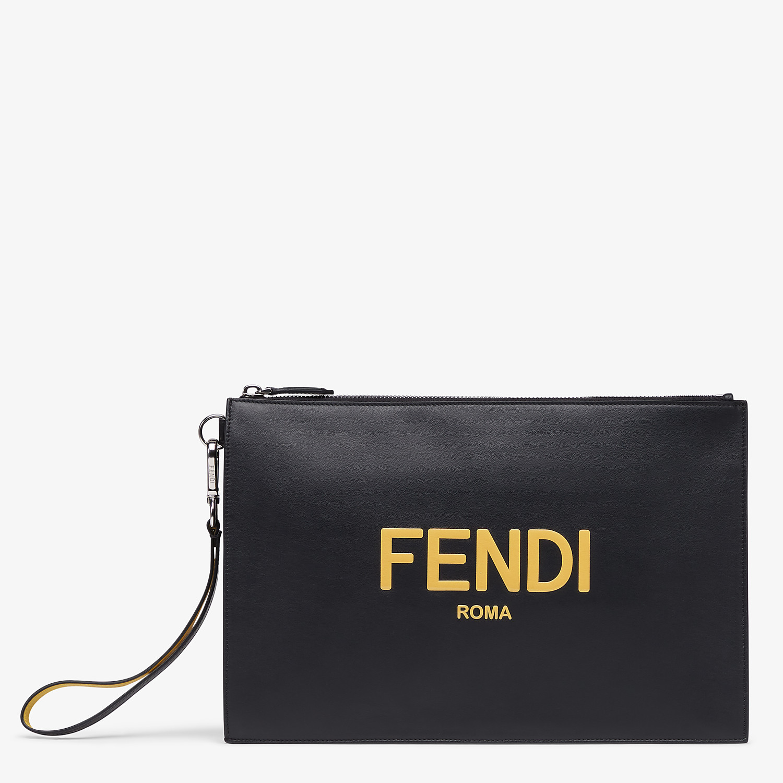 FENDI FLAT POUCH - Black leather pouch - view 1 detail