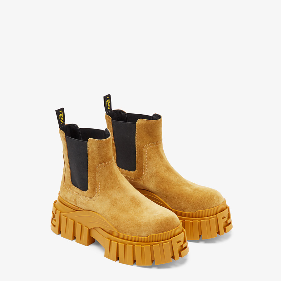 FENDI FENDI FORCE - Yellow suede Chelsea boots - view 4 detail