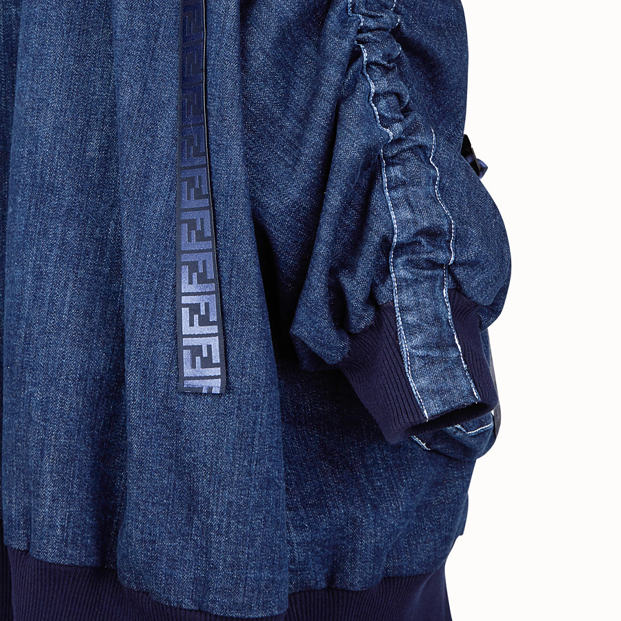 FENDI BOMBER - Blue cotton bomber - view 3 detail