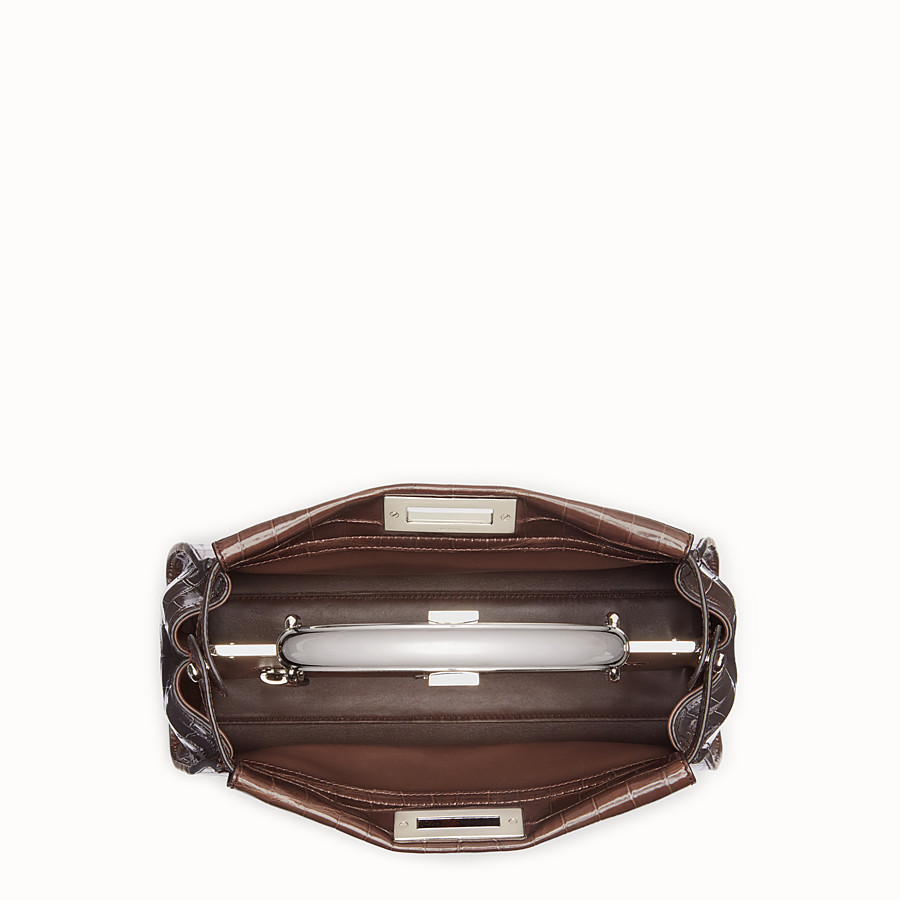 FENDI PEEKABOO REGULAR - Dark brown crocodile leather handbag. - view 4 detail